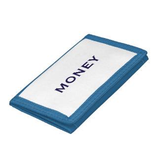 blue tri-fold wallet