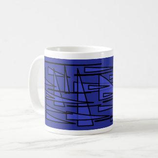 blue triangle coffee mug