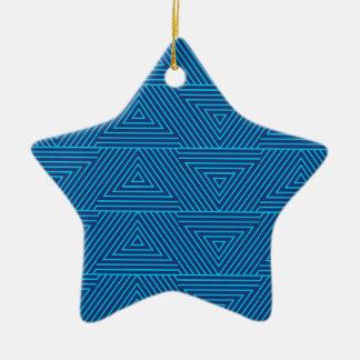 blue triangle pattern ceramic ornament