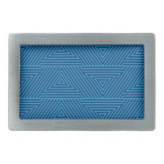 blue triangle pattern rectangular belt buckle