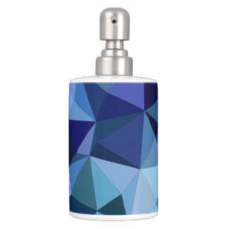 Blue triangles soap dispenser and toothbrush holder