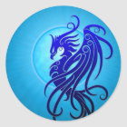 Blue Tribal Phoenix Classic Round Sticker
