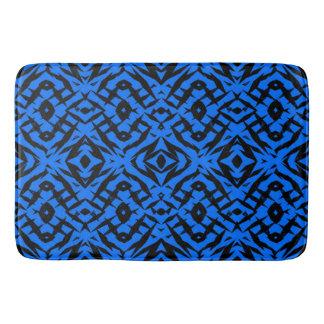 Blue tribal shapes pattern bath mat