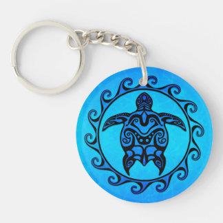 Blue Tribal Turtle Sun Keychain