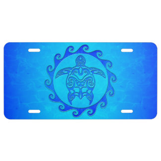 Blue Tribal Turtle Sun License Plate