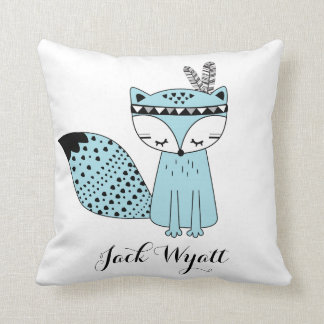 Blue Tribal Woodland Fox Baby Boy Modern Nursery Throw Pillow