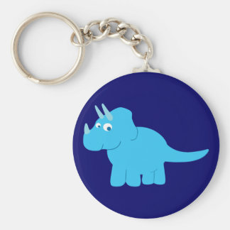Blue Triceratops Dinosaur Keychain
