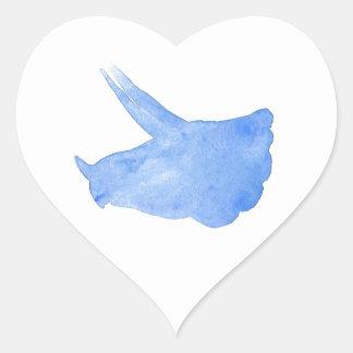 Blue Triceratops Head Heart Sticker