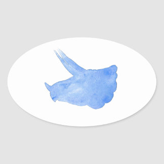 Blue Triceratops Head Oval Sticker