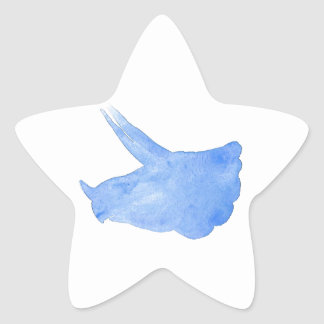Blue Triceratops Head Star Sticker