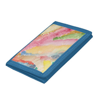 Blue Trifold Nylon wallet w/abstract design