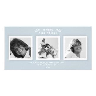 Blue Triple Photo Simple Modern Holiday Card