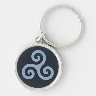 Blue Triskelion Keychain