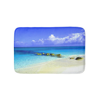 Blue Tropic Waters With White Sandy Beach Bath Mat