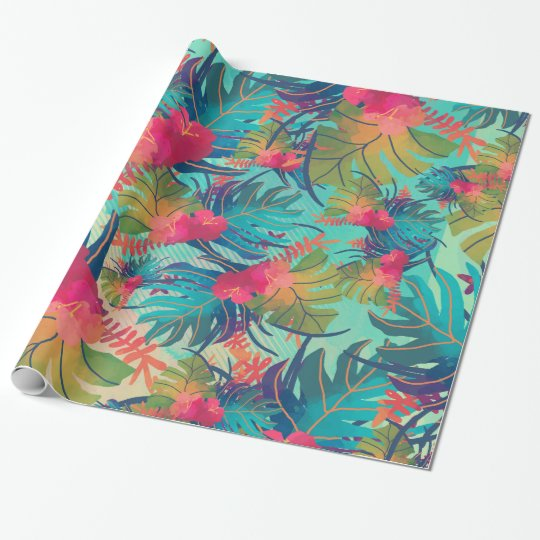 Blue Tropical Ferns Gift Wrap Paper