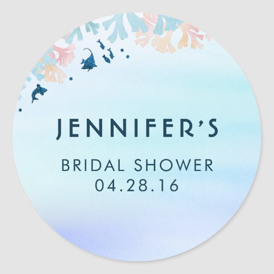 Blue Tropical Fish Under the Sea Bridal Shower Classic Round Sticker