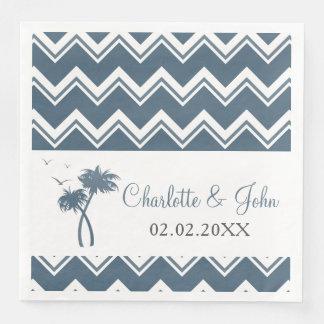 Blue Tropical Palm Tree Wedding Napkins