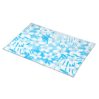 Blue tropical palm trees placemat