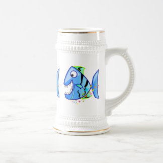 Blue Tropical Piranha with stars Beer Stein