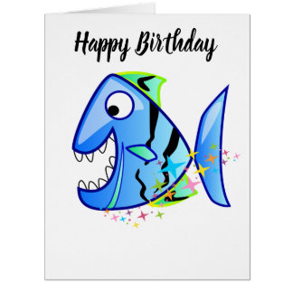 Blue Tropical Piranha with stars Card