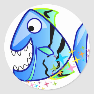 Blue Tropical Piranha with stars Classic Round Sticker
