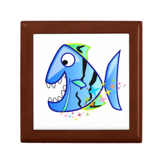 Blue Tropical Piranha with stars Gift Box