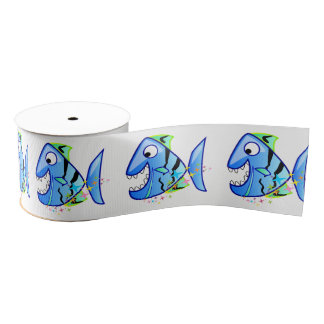 Blue Tropical Piranha with stars Grosgrain Ribbon