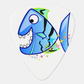 Blue Tropical Piranha with stars Guitar Pick