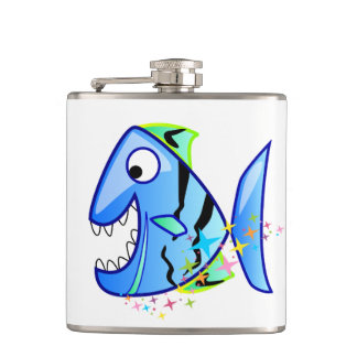 Blue Tropical Piranha with stars Hip Flask