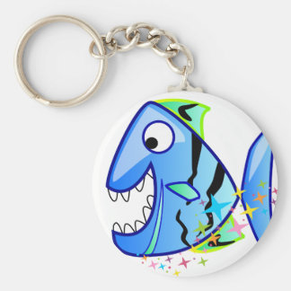 Blue Tropical Piranha with stars Keychain
