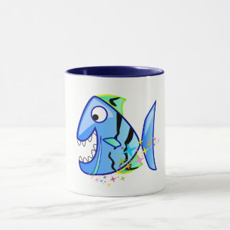 Blue Tropical Piranha with stars Mug