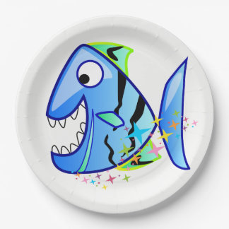 Blue Tropical Piranha with stars Paper Plate