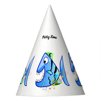 Blue Tropical Piranha with stars Party Hat