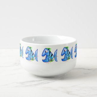 Blue Tropical Piranha with stars Soup Mug