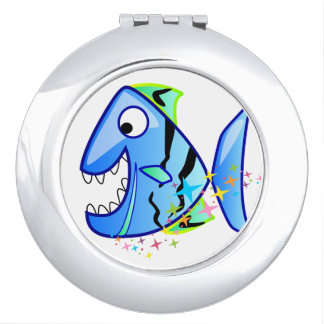 Blue Tropical Piranha with stars Travel Mirror