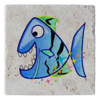 Blue Tropical Piranha with stars Trivet