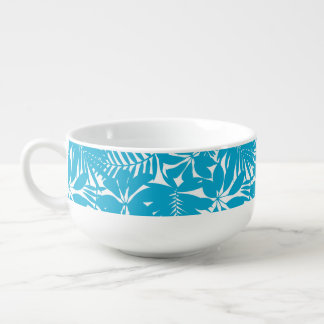 Blue tropical soup mug