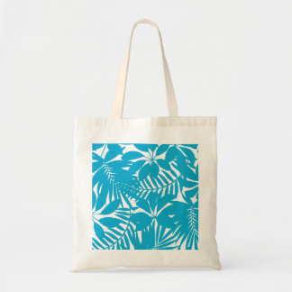 Blue tropical tote bag