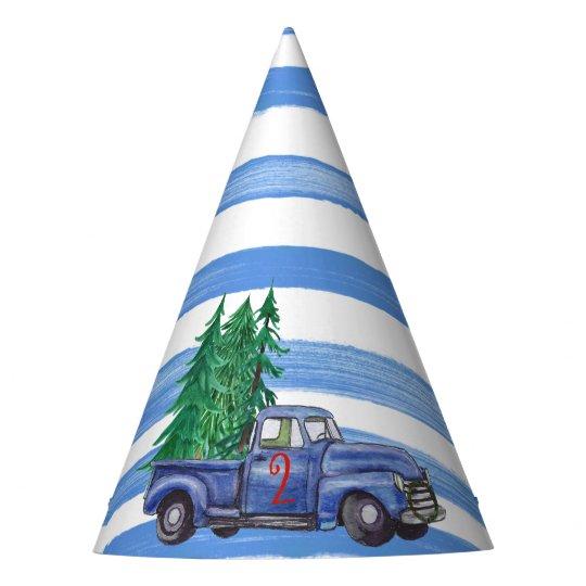 Blue Truck Hat - Blue Stripe - Editable Age