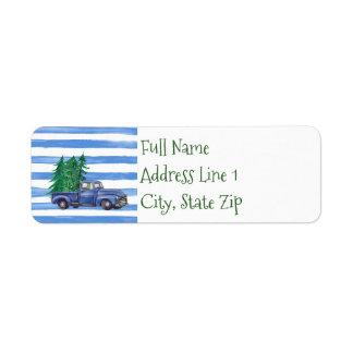 Blue Truck Return Address Label