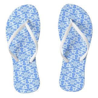Blue tulip blue pattern flip flops