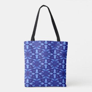 Blue tulip patterned floral damask bag