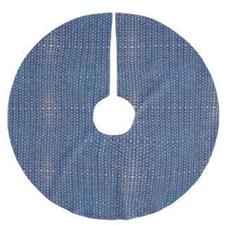Blue Tungsten Chainmail Metal Look Armor Brushed Polyester Tree Skirt