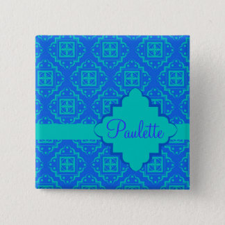 Blue & Turquoise Arabesque Moroccan Graphic 2 Inch Square Button