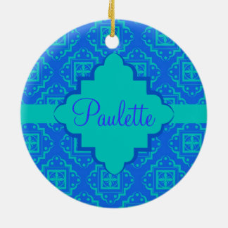 Blue & Turquoise Arabesque Moroccan Graphic Ceramic Ornament