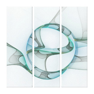 Blue Turquoise Gray Abstract Elegance Triptych Canvas Print
