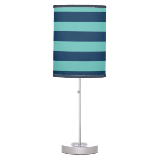 Blue Turquoise Hipster Rugby Stripes Desk Lamp