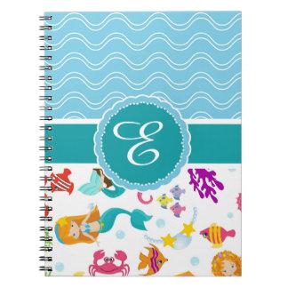 Blue Turquoise Mermaid Notebook