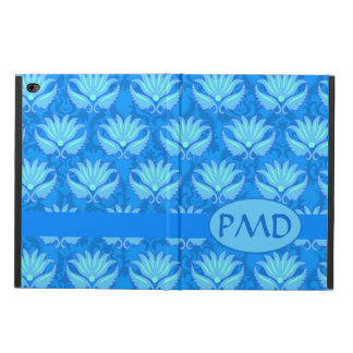 Blue Turquoise Modern Damask Monogram Custom Powis iPad Air 2 Case