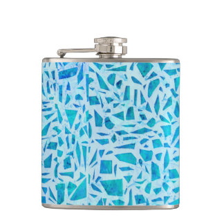 Blue Turquoise Mosaic Glass Tile Modern Chic Hip Flask